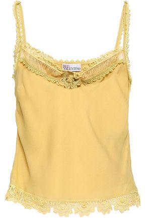 REDValentino Floral-appliquéd silk-crepe camisole