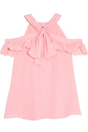 BOUTIQUE MOSCHINO Cold-shoulder pussy-bow crepe de chine blouse
