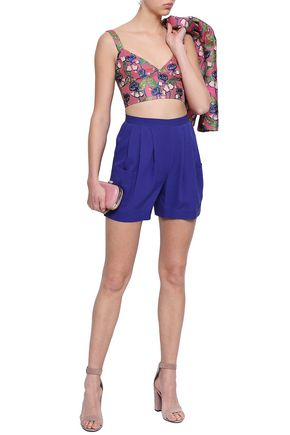 REDValentino Cropped floral-jacquard top