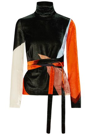 CEDRIC CHARLIER Tie-front color-block velvet turtleneck top