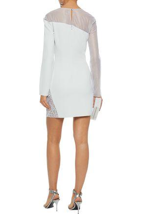 CUSHNIE Reine embellished metallic tulle-paneled crepe mini dress
