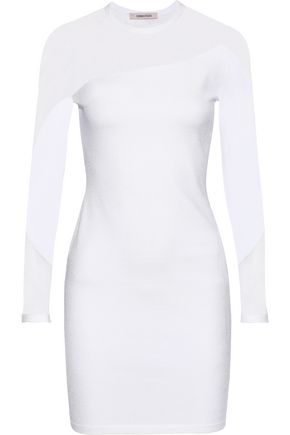 CUSHNIE ET OCHS Mesh-paneled stretch-knit mini dress