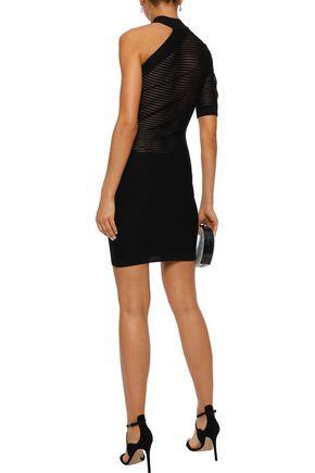 CUSHNIE One-shoulder knitted mini dress