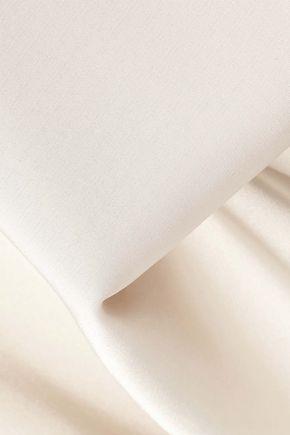 IRIS & INK Tulia draped satin-crepe turtleneck blouse