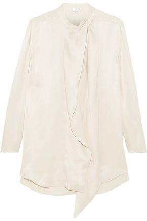 IRIS & INK Abigail draped charmeuse blouse