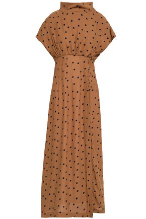 PAPER London Dot polka-dot crepe de chine midi dress