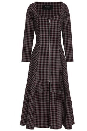 PAPER London Lotus checked wool-blend midi dress