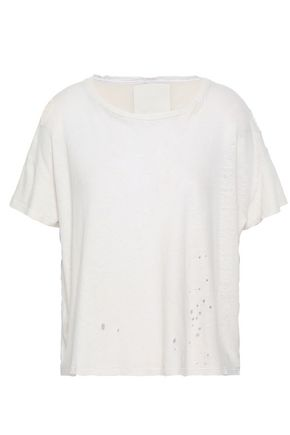 MOTHER Distressed slub cotton and linen-blend jersey top