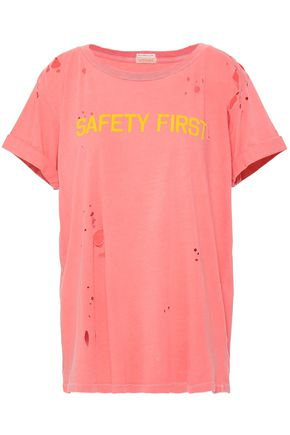 MOTHER Flocked distressed Supima cotton-jersey T-shirt