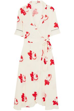 GANNI Floral-print crepe de chine wrap dress