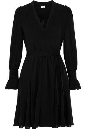 IRIS & INK Gabriella wrap-effect chiffon mini dress