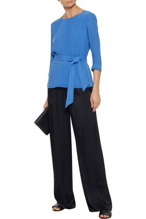 IRIS & INK Delilah belted crepe blouse