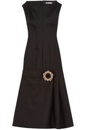 JACQUEMUS La Robe Claude embellished wool and cotton-blend midi dress