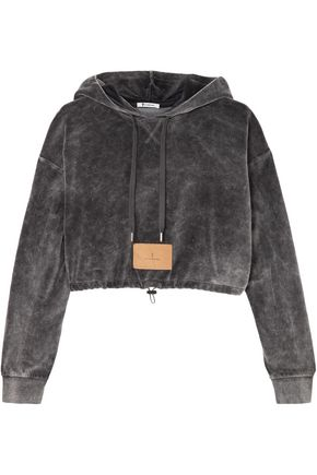 T by ALEXANDER WANG Cropped cotton-blend velour hooded sweatshirt
