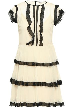 REDValentino Two-tone tiered point d'esprit mini dress