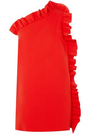 MSGM One-shoulder ruffled stretch-crepe mini dress