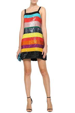 ALICE + OLIVIA Striped sequined satin mini dress