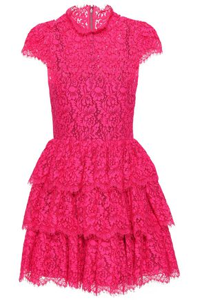 ALICE + OLIVIA Tiered cotton-blend lace mini dress