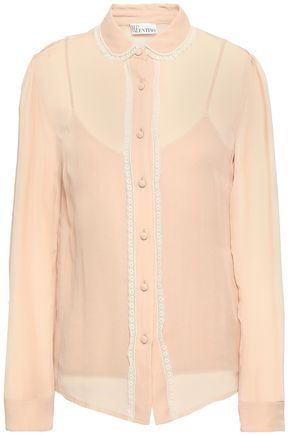 REDValentino Lace-trimmed silk-georgette blouse