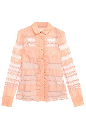REDValentino Scalloped tulle and organza shirt