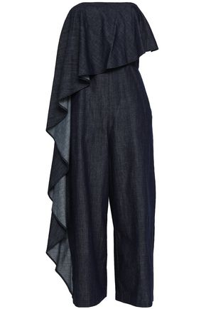 ALICE + OLIVIA Draped cotton-chambray jumpsuit