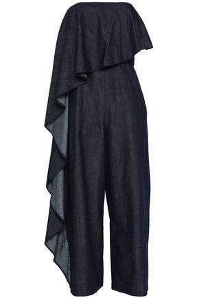 ALICE + OLIVIA Draped cotton-chambray jumpsuit