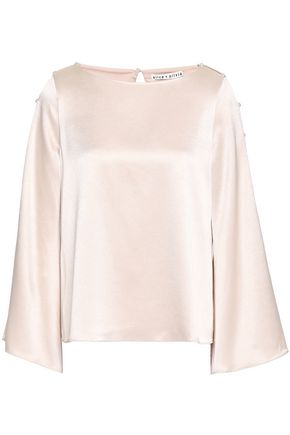ALICE + OLIVIA Faux pearl-embellished cutout satin blouse