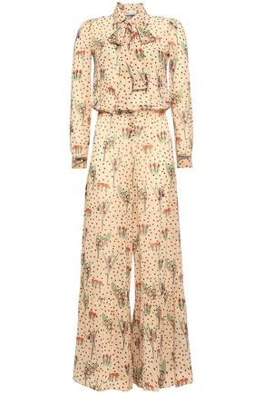 REDValentino Printed silk-blend georgette jumpsuit