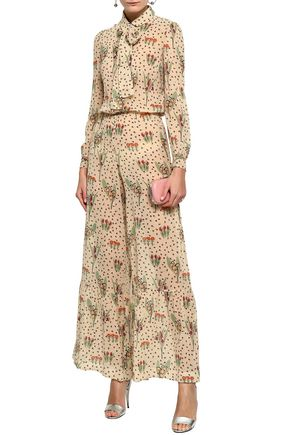REDValentino Printed silk-blend georgette jumpsuit