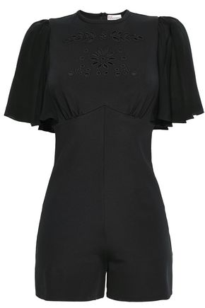 REDValentino Cape-effect embroidered crepe playsuit