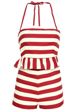 REDValentino Striped cotton and silk-blend halterneck playsuit