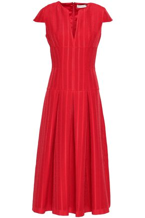 AMANDA WAKELEY Pleated jacquard midi dress