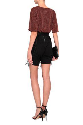 SAINT LAURENT Lace-up cotton and linen-blend twill shorts