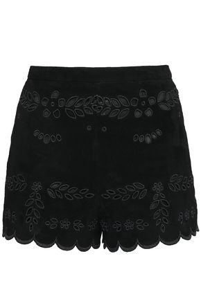 REDValentino Broderie anglaise suede shorts