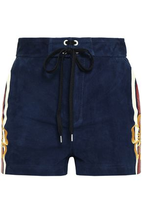 REDValentino Embroidered lace-up striped suede shorts