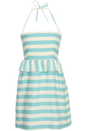 REDValentino Striped cotton and silk-blend twill mini dress