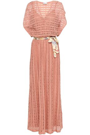 REDValentino Belted cotton-blend corded lace maxi dress