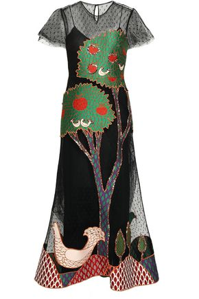 REDValentino Embellished point d'esprit midi dress
