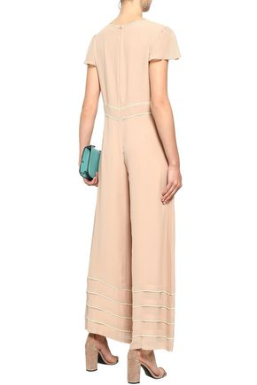 REDValentino Lace-trimmed silk-georgette jumpsuit