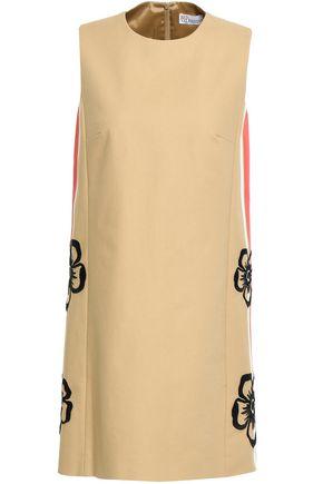 REDValentino Embroidered striped stretch-cotton mini dress