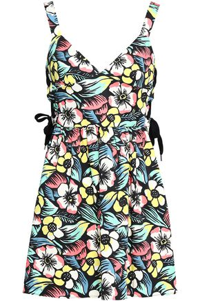 REDValentino Lace-up floral-print stretch-cotton mini dress