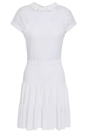 REDValentino Broderie anglaise-paneled stretch-knit dress