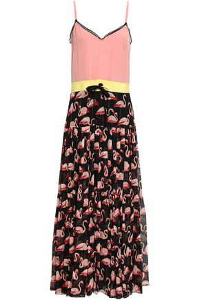 REDValentino Lace-trimmed printed silk-georgette maxi dress