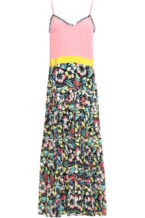 REDValentino Lace-trimmed floral-print silk-blend maxi dress