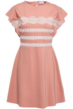 REDValentino Lace-trimmed stretch-knit mini dress
