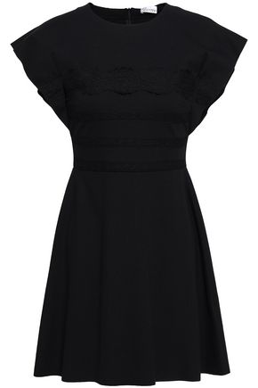 REDValentino Lace-trimmed stretch-knit mini dress