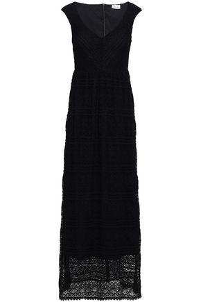 REDValentino Gathered cotton-blend lace maxi dress