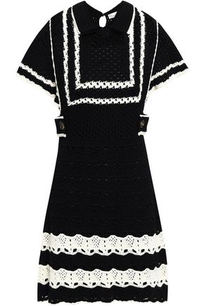 REDValentino Two-tone pointelle-knit mini dress