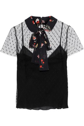 REDValentino Floral-print pussy-bow point d'esprit top
