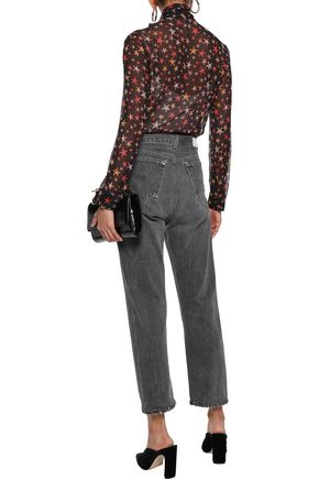 REDValentino Pussy-bow printed silk-georgette shirt